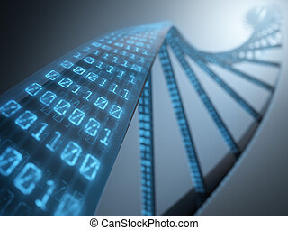 Dna with binary codes. Concept of science technology.