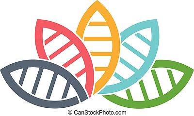 DNA Biology group of leaves logo. Vector graphic design