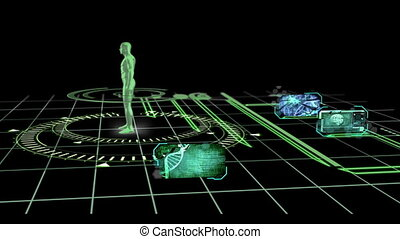 DNA brain and neuron interfaces appearign on background of...