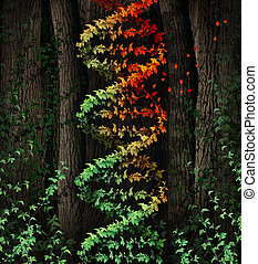 DNA Damage - DNA damage symbol as a dark tree forest growing...