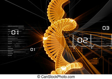 dna - Digital illustration of DNA in abstract background