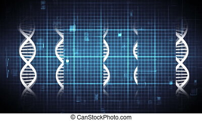 Digital animation of DNA double helix rotating and heart rate moving across the screen. Square patterns and digital squares moving upwards in the background.