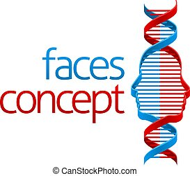 DNA Double Helix Face Illusion Concept