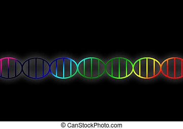 DNA double helix illustration in rainbow colors on black...