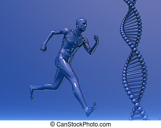 dna - DNA strands and running man  - 3d illustration