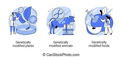 DNA engineering industry abstract concept vector illustrations.
