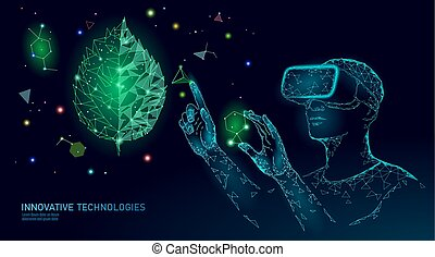 DNA evolution modern engineering technology. Augmented reality helmet vr glasses. Ecology nature gene innovation concept. GMO gene engineering plant organic science medical vector illustration