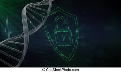 Animation of a green padlock in a green shield over DNA strain spinning and a heartbeat monitor. Digital online security computer interface concept digitally generated