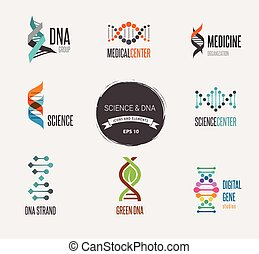 DNA, genetic elements and icons collection - DNA, genetic...