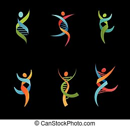 DNA, genetic symbol - people, man and woman icon - DNA,...