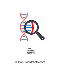 DNA, genetics research. dna chain in magnifying glass sign....