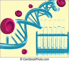 DNA helix with the test tubes in a research lab. Vector...