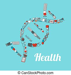 DNA helix with sketched medical icons