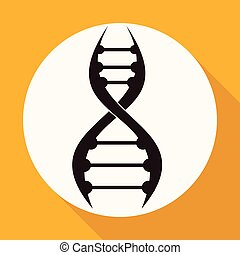 DNA Icon on white circle with a long shadow
