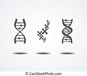 Dna icons set isolated on white background