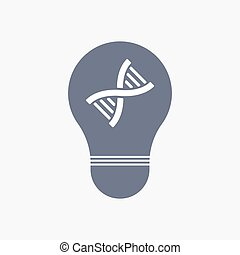 dna, luce, isolato, segno, bulbo, icona