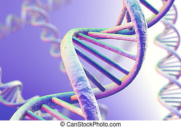 DNA Magnification - DNA double helix. High resolution 3d...