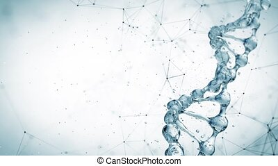 DNA molecule in water 3d illustration. HD - DNA molecule in...