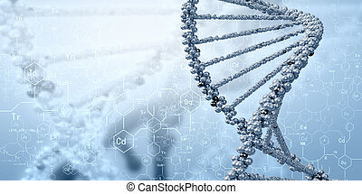 DNA molecule is located in front of a colored background. ...
