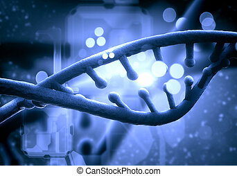 DNA molecule is located in front of a colored background....