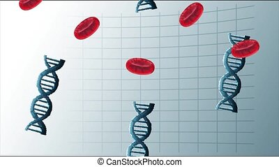 dna molecules and blood poster science animated, 4k video ...