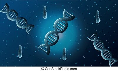 dna molecules poster science animated, 4k video animation