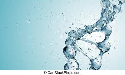 dna, molekuła, w, woda, 3d, illustration., hd