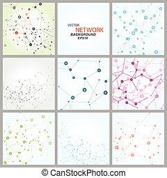dna, nätverk, färg, anslutning, vektor, atom