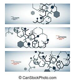dna., netværk, farve, sammenhænge, vektor, atom