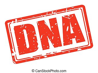 Dna red stamp text on white