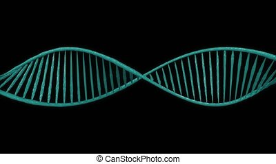 DNA rotates on the green screen