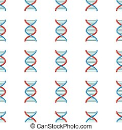 DNA seamless pattern in cartoon style isolated on white background vector illustration