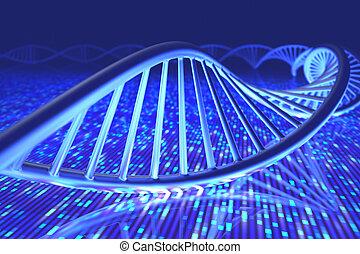 DNA Senger Sequence - 3D illustration, concept of DNA and...