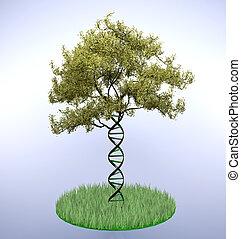 dna shaped tree trunk, 3d illustration