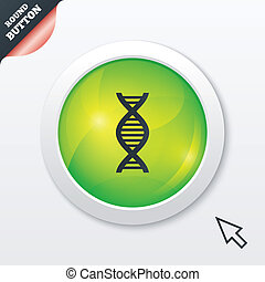 DNA sign icon. Deoxyribonucleic acid symbol. Green shiny...