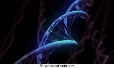 DNA spinning RNA double helix slow science electron microscope closeup dof