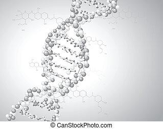 dna, -, spirala, molekuły, tło