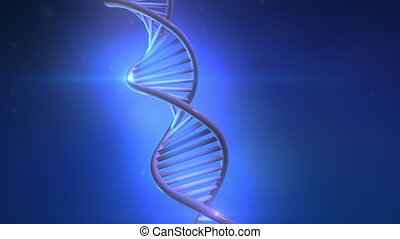 Artificial model of DNA strand on blue background.
