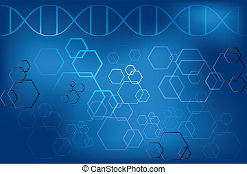 DNA strand and abstract atoms on light blue background -...
