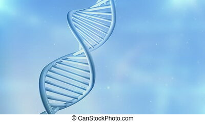Animation of a spinning DNA strand on a light blue background.