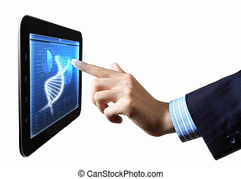 DNA helix abstract background on the tablet screen. Illustration