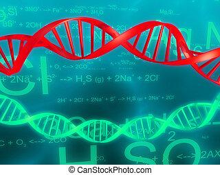 dna strand - 3d rendered illustration of formulas and dna...