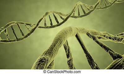 DNA strand yellow 3d rendering with clipping path