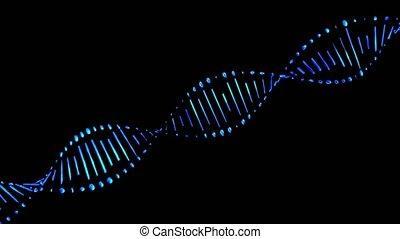 Dna strands are assembled from individual elements. Black background