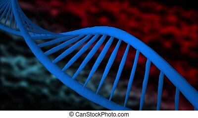 Dna strands are assembled from individual elements. Red white background
