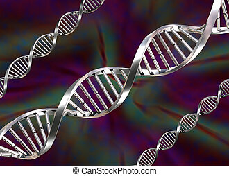 DNA Strands - Illustration of three double helix DNA strands