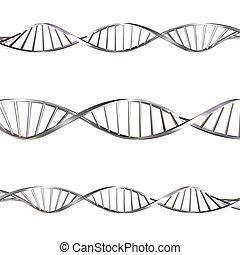 DNA strands on white background