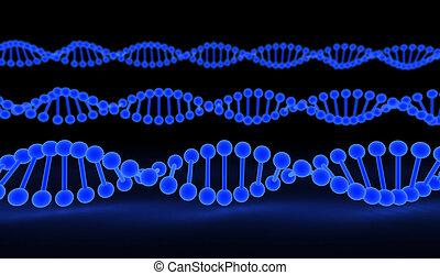 DNA Strands over black background