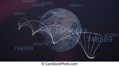 Animation of 3d DNA strand spinning over globe and changing numbers. Global medicine science research concept digitally generated image.