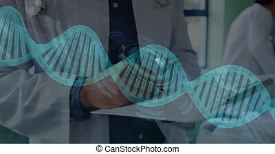 Animation of DNA strands spinning and scope scanning over male doctor wearing lab coat and making notes. Global medicine concept digitally generated image.